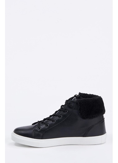 DeFacto Bağcıklı Fermuarlı Sneaker Bot Siyah